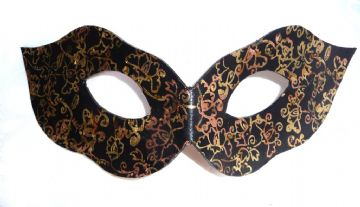Genuine Handmade  Leather LADIES Multi-Tonal Gold 1 leaf Mask ( WILL FIT OVER GLASSES